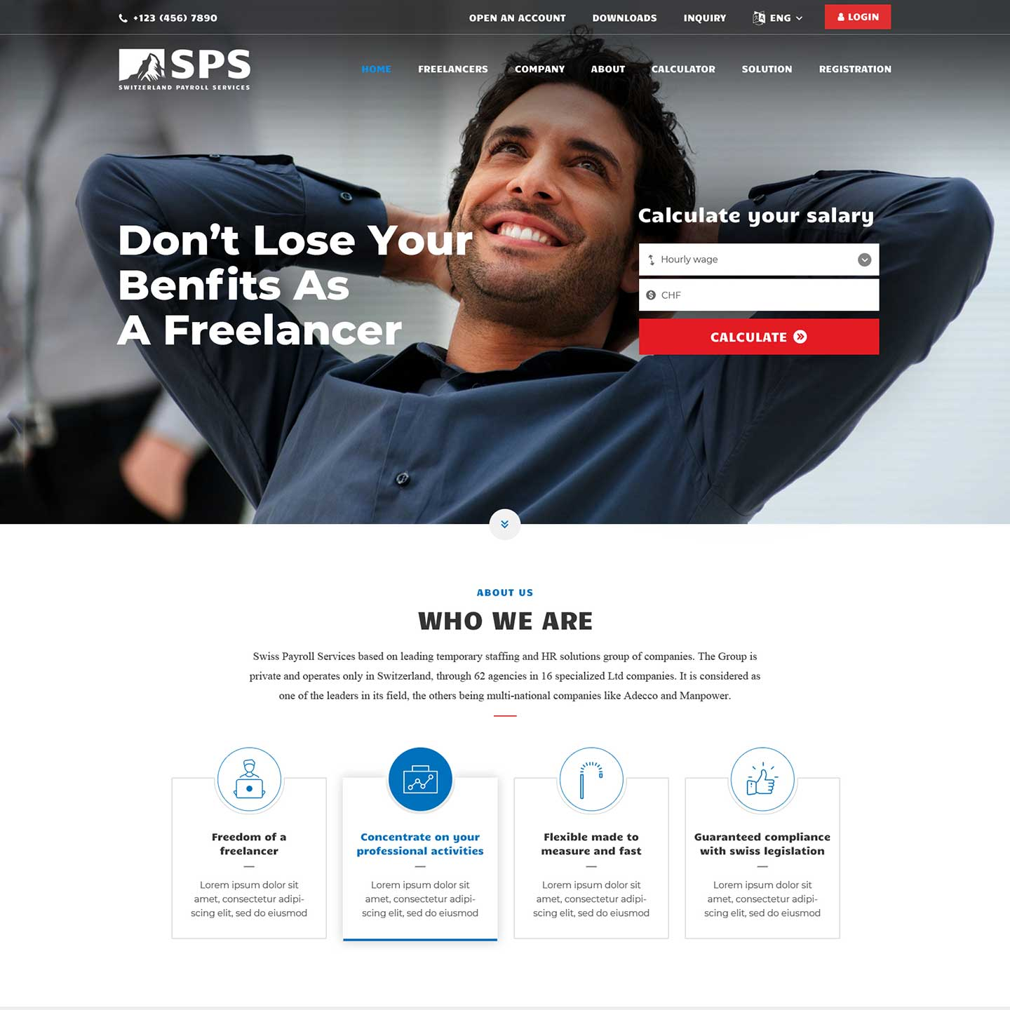 Corporate Website for Switzerland Payroll Services- SPS