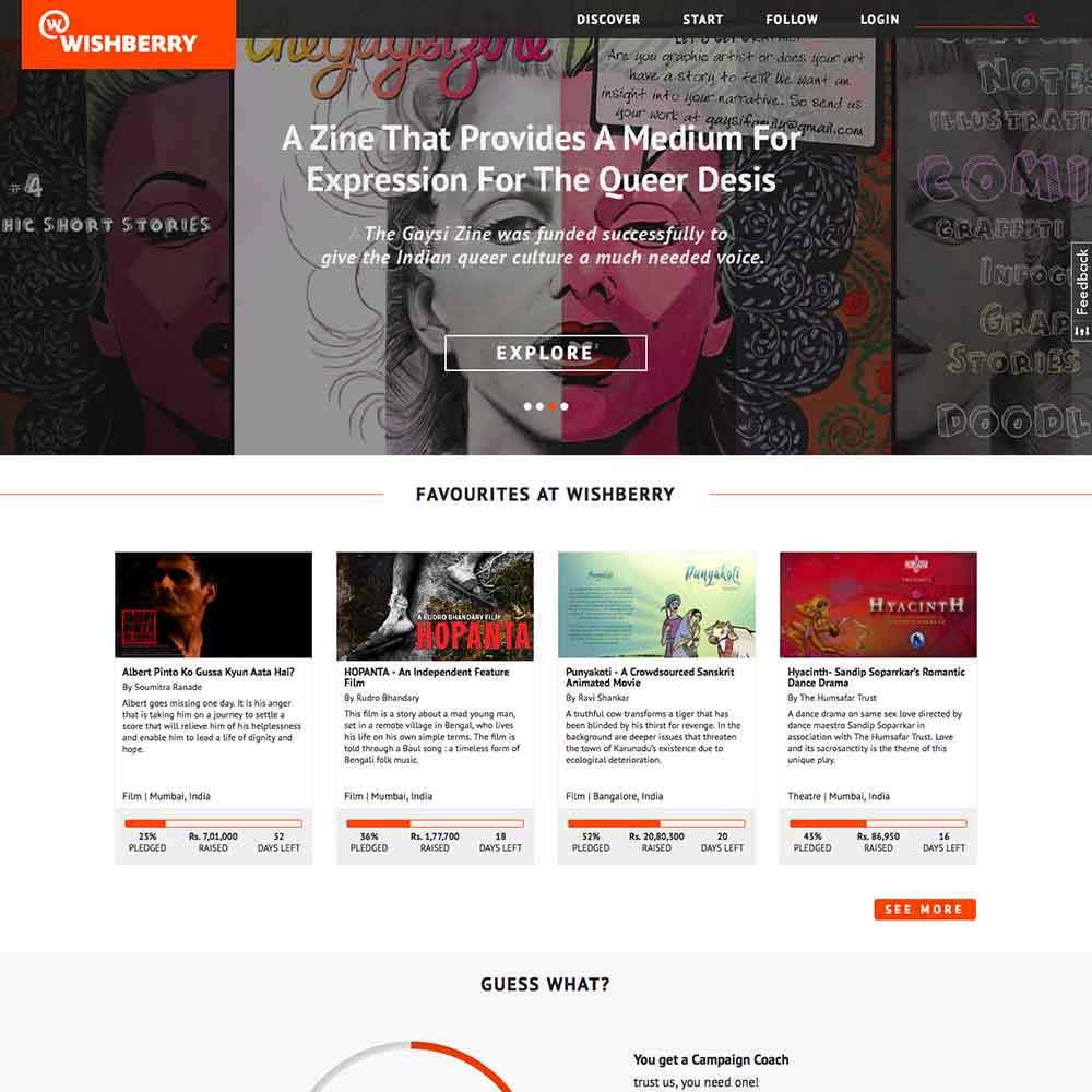 Website for Wishberry CrowdFund